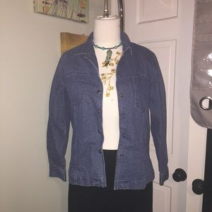 Sm Chico's jean jacket with faint all over Pattern